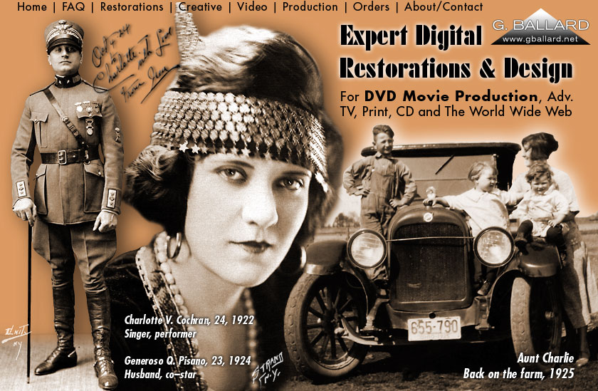 Expert digital photo restorations stock photography and graphic design for print, internet, family history genealogy projects. Delivery formats include photos on CD, DVD movie and slide shows, HTML ready, web hosting, San Diego professional photographer for video scripting, video production. Historical photographs stock library.