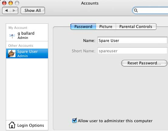"Create a ""Spare User"" Accounrt"